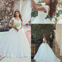 corset wedding dresses 2019 - 2018 New Vintage Tulle Lace Appliques Wedding Dresses Sweetheart Beaded Sweep Train Corset Back Cap Sleeves Bridal Gowns