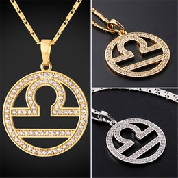 U7 New Zodiac Charms LIBRA Pendant Necklace Simple Women Men Jewelry Gift  Rhinestone Gold Platinum Plated Necklace Perfect Gifts P2509 f15d2f7a57f4