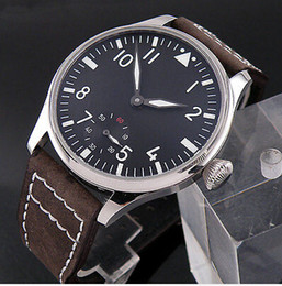 Pilot Watch Dial Canada - Luxury Watch Fashion Watch 44mm Pilot Black Dial Hand Winding 6498 Movement Leather Bracelet Men's Watch