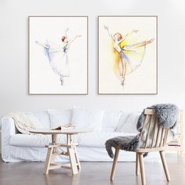 Art Canvas Prints Australia - Watercolor Modern Dance Ballet Poster Beautiful Gril Room Wall Art Print Picture Living Room Home Decor Canvas Painting No Frame