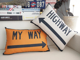 $enCountryForm.capitalKeyWord Canada - Road Sign Highway Sofa Cushion Covers MY Way Pillow Cases Experts Only Sofa Thick Linen Cotton Pillow Cover Car Office Decor Free Shipping