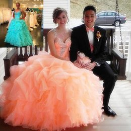 Barato Laranja Ruched Vestidos-Elegantes vestidos de laranja Quinceanera para Sweet 16 Ball Appliques Beaded A Line 2016 Pageant Prom Dress Party Custom Made Real Image Cheap