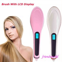 Hot Pink Hair Combs Canada - 2016 Hot HQT-906 Hair Straightener Flat Iron Hair irons fast Straightening Brush Hair Styling comb Beautiful Star pink white US EU UK AU