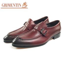$enCountryForm.capitalKeyWord UK - GRIMENTIN Mens dress shoes genuine leather brown slip on men loafers Italian fashion designer buckle business wedding mens shoes SD