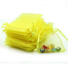 Plastic Drawstring UK - 7x9cm Yellow Organza Jewelry Bags Small Drawstring Pouches Decoration Gift Candy Bags Customed Logo Printed 100pcs lot Wholesale