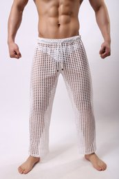 Pantalons Purs Pour Hommes Pas Cher-Men Sleep Lounge sexy maille pantalons pour les hommes solides Mens purs sheer respirant Hommes Sexy Gay Wear voir à travers des pantalons casual noir M-2XL