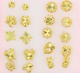 big butterfly earrings 2019 - Women nail Earrings Mix order butterfly flowers animal style 30Pairs plating 24K Yellow Gold Filled GF Wives big Lady&#0