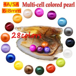 pearl oyster shell wholesale Australia - Freshwater vacuum bag oyster pearl pearl, pearl shell 6-7 mm round four pearl inside, 28 color pearl. 30 pieces   lot