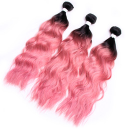 Discount indian remy brazilian wavy - Water Wave Pink Hair Raw Indian Remy Virgin Human Hair 3Bundles Two Tone Dark Root Pink Hair Bundles Wet And Wavy Bundle