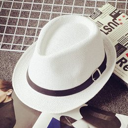White Jazz Hat Canada - Wholesale-Summer Casual women's ladies Beach Jazz Fedora Sun Panama Hats for Women Men Straw Cap hat braid chape 7 color optional