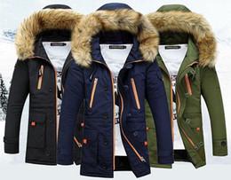 Men S Long Parkas Canada - Winter Thickening Jacket Men Casual Warm Fur Hooded Collar Jackets Down Coat Baseball Design Plus Size S-XXXL Veste Homme Parka