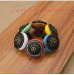 Ceramic Pulls For Cabinets Canada - 6 colors vintage ceramic door knob handle pull with carve patterns , for cabinet, kitchen and drawer, free shipping#63