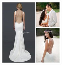 Discount spaghetti strap silk wedding dress 2017 silk ivory sexy unbacked beach wedding dresses 2015 spaghetti straps with open back collar lace lace wedding dresses evening wear in summer junglespirit