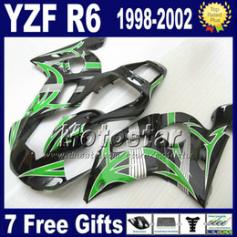 Plastics for 1999 yamaha r6 online shopping - 7 Free gifts Plastic fairing kit for YAMAHA YZF600 YZFR6 YZF R6 black green fairings set VB93