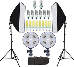 Freeshipping NEW Photography Photo studio Continuous Lighting softbox kits Photo Equipment and Double 4 Lamp holder &Photo Studio Diffuser on Sale