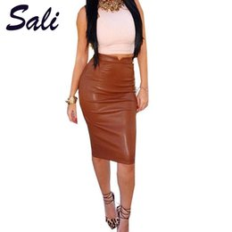 Barato Saia De Couro Macio-Venda por atacado- Hot Sale Women Soft PU Leather Skirt High Waist Slim Hip Pencil Saias Vintage Bodycon OL Midi saia Sexy Clubwear Plus Size