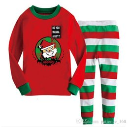 Wholesale blouse sold online – INS Hot selling European and American new style Children Christmas Clothing Cartoon santa claus Print Blouse stripe pants sets