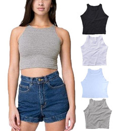 Barato Tanques De Cultivo Para Mulheres-2015 Summer New Women Fashion Sexy Sem Mangas O-Neck Crop Short Tight Fitting Slim Tank Tops Tamanho Gratuito