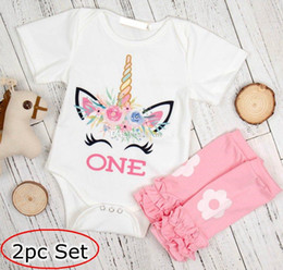 "$enCountryForm.capitalKeyWord Canada - Little girl romper set infant ins unicorn white rompers & flower leg warmers outfit Baby ""One"" Letter print jumpsuits 0-2T"