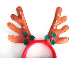 wholesale reindeer headbands Canada - New 10pcs lot Christmas Reindeer Headdress Party Ornaments Red Reindeer Antler Headband Santa Hat for Christmas Day Free Shipping