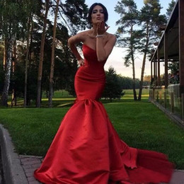 Barato Barato Vestidos Formais China-Stunning 2017 Red Mermaid Evening Gowns Cheap Sweetheart Long Vestidos Formais Party Evening Plus Size Custom Made China EN10312