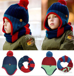 kids hat gloves scarves Australia - Wholesale-2015 new Korean Spell color striped boys Knitted hats winter 2 pcs baby kids scarf hat set Age for 2-8 Years Old
