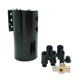 China Universal Black Car Engine Reservoir Round Tank Oil Catch Can Tank Aluminum 250ML suppliers