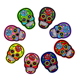 Wholesale 8 Styles Multicolor Skull Patches for Clothing Bags Iron on Transfer Applique Patch for Jacket Jeans DIY Sew on Embroidered Badge