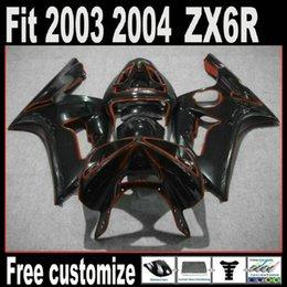 Red Black Kawasaki Zx6r NZ - Red line on black Full set Fairing for KAWASAKI Ninja ZX6R 636 ZX-6R 2003-2004 03 04 ZX 6R 2003 2004