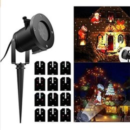 waterproof strobe lighting 2019 - Christmas Lights Projector 12PCS Pattern Waterproof Led Landscape Spotlight with 12 Slides Dynamic Lighting For Hallowee