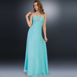 Barato Longo Halter Império Vestido De Baile-Sexy Halter Prom Dresses 2016 Evening Dresses Long Empire Uma linha Beaded Backless Prom Gowns Plus Size Mint Bridesmaid Dresses