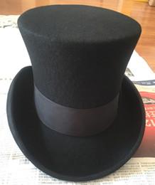 Cream Rose Hat NZ - Wholesale-18.0cm(7.1inch) Wool High Top Hat  Uncle Sam Magician Stove Pipe Beaver Hat   Gun Rose Slash Sherlock Hat