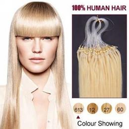 "Bleach Blonde Human Hair Extensions NZ - wholesale remy Indian Hair 5A 16""-24"" 1g  s 100g set #613 bleach blonde Loop Micro Hair Extension,100% Human Hair dhl free"