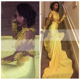 Barato Vestidos De Formatura Promocionais On-line-Slim Black Girl Mermaid Prom Dresses Lace Appliques Beading Sheer Long Sleeves Custom Online Vestidos De Soiree Beading