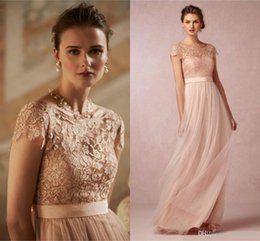 Photos Sexy Chaud Et Sexy Pas Cher-2016 Hot Cheap Blush Pink Robes de bal à manches courtes Sheer dentelle Jupettes Backless longues demoiselles d'honneur pour soirée de mariage Robes formelles CPS221