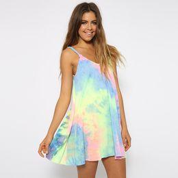 f82433c3dfc Hippie Clothes Women UK - Rainbow Women Beach Dress 2015 Tie Dye Spaghetti  Strap Sleeveless Dresses
