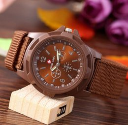 military sport swiss army watch NZ - New Brown White color Swiss Military Quartz Swiss Fabric Strap Army Watch Men Ourdoor Sport Watches Wristwatch Male Clock Nylon Band