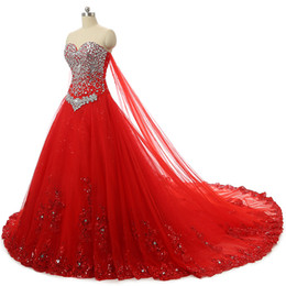 Chinese  Sparkly Crystals Wedding Dress Custom Made Colors Red Luxury Wedding Gowns Corset Lace-up Back Lace Appliques Bridal Dresses with Long Train manufacturers