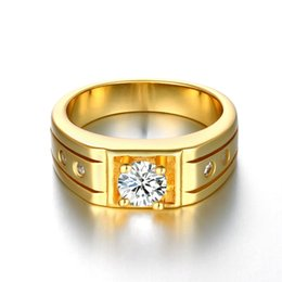 Engagement Platinum Men Ring UK - Luxury Men Jewelry Platinum Gold Rosegold Plated Solitaire Ring Bezel Set CZ Crystal Groove Band Pinky Ring US Size#8-10