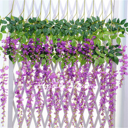 $enCountryForm.capitalKeyWord Canada - HOT 8 color Mix wedding basket Wisteria vine rattan flowers Artificial silk Flowers Party or Birthday Home wall decorations