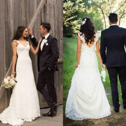$enCountryForm.capitalKeyWord Canada - 2016 Spring Garden Sheath Lace Wedding Dresses Covered Button Backless Elegant Vestido De Novia Court Train Bridal Party Gowns 2015