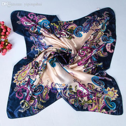 hijab scarf styles Australia - Wholesale-Women 90*90cm big size satin Square Scarf High Quality Imitated Silk Satin Scarves Shawl Hijab fashion brand style
