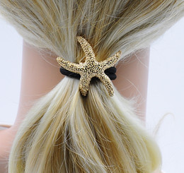 $enCountryForm.capitalKeyWord Canada - Girl Ponytail Holder with Metal Star Starfish 2 Colors New Fashion Hair Accessories High Quality for Wholesale