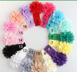 Frete grátis 50 pcs bebê Headwear Flor Acessórios Para o Cabelo Flor 4 polegada Chiffon flor com macio Elastic crochet headbands faixa de cabelo stretchy venda por atacado