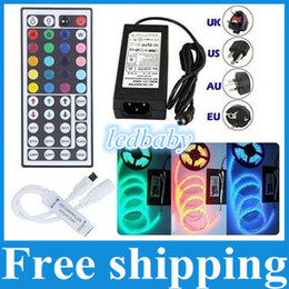Wholesale 5M Led RGB SMD5050 Led Strips Light Waterproof IP65 keys IR Remote Control V A Power Supply Best For Christmas KTV Party Light