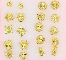 Discount big butterfly earrings - Women nail Earrings Mix order butterfly flowers animal style 30Pairs plating 24K Yellow Gold Filled GF Wives big Lady&#0