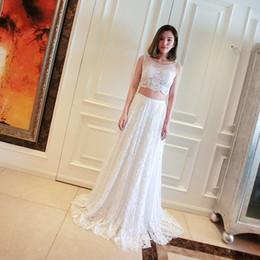 $enCountryForm.capitalKeyWord Canada - Elegant Lace 2 Two Piece Prom Dress With Pearls 2016 Scoop Neck Long Prom Gowns Vestido longo
