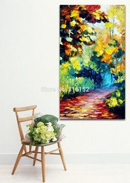 $enCountryForm.capitalKeyWord Canada - Modern Palette Knife Oil Painting Mystery Forest Road Landscape Picture Printed on Canvas for Home Office Hotel Wall Art Decor