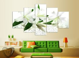 $enCountryForm.capitalKeyWord Australia - Hot sell 5 Panels White flowers Painting Wall Art Picture Home Decoration Living Room Canvas Print Modern Painting Framed F 1128