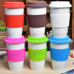 Discount silicone covers for bottles - Silicone antiskid sleeve for mugs Recyclable heat insulation bottle cover Have stripes outside internal smooth glass cup